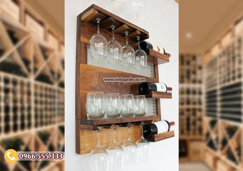 Mẫu kệ rượu vang treo tường phong cách cổ điển TBR206