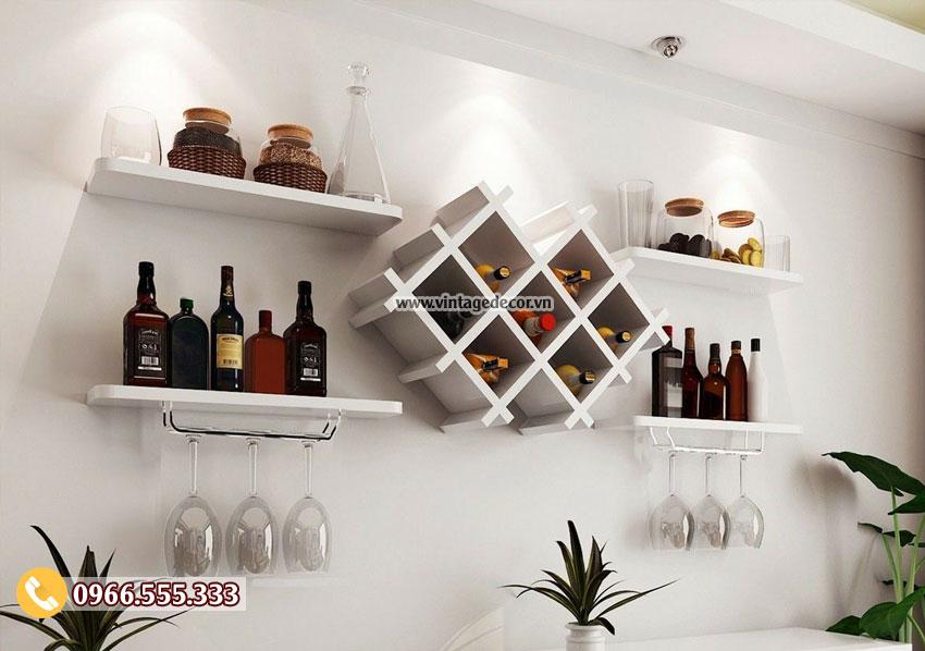 Mẫu kệ rượu treo tường phong cách hiện đại TBR208
