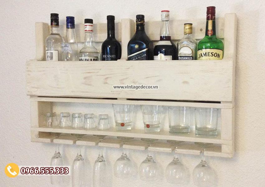 Mẫu kệ rượu vang treo tường 2 tầng TBR209