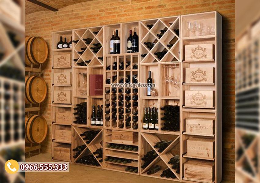 Mẫu tủ rượu trưng bày gỗ thông nhập khẩu TRV01