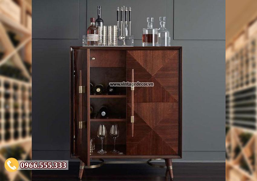 Mẫu tủ rượu vang trưng bày gia đình gỗ sồi TRV04