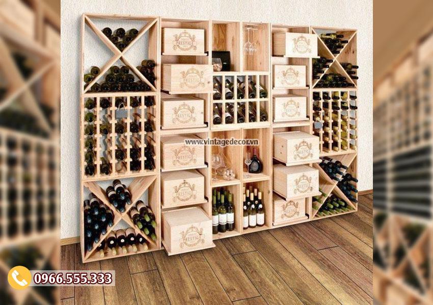 Mẫu tủ rượu trưng bày gỗ thông nhập khẩu đẹp TRV05