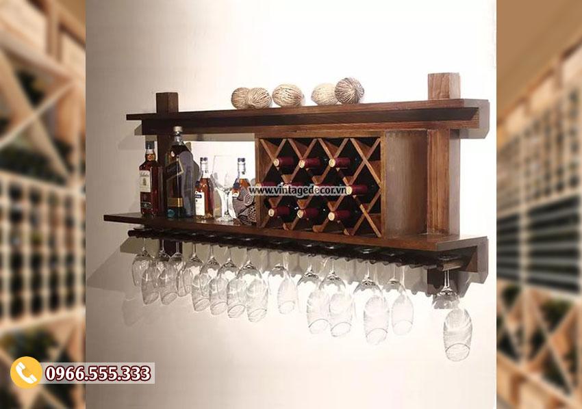 Kệ rượu treo tường cổ điển đẹp TBR211