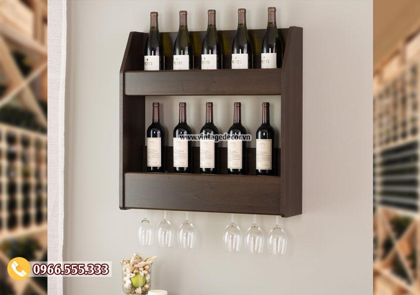 Kệ rượu treo tường gỗ sồi bóng TBR212
