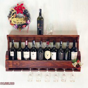 Mẫu kệ rượu treo tường gỗ thông nhập khẩu KRTT15