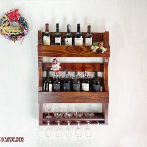 Mẫu kệ rượu vang trang trí gắn tường KRTT17