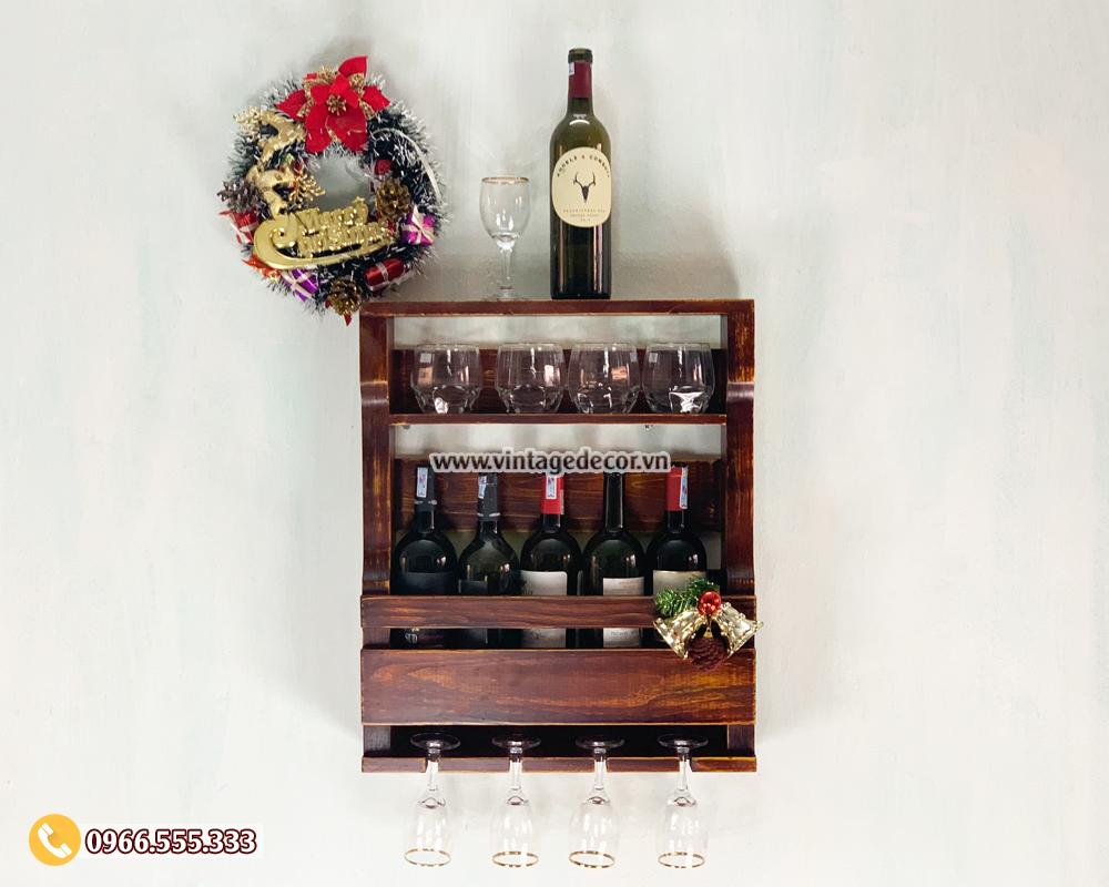 Mẫu kệ rượu vang mini treo tường KRTT07