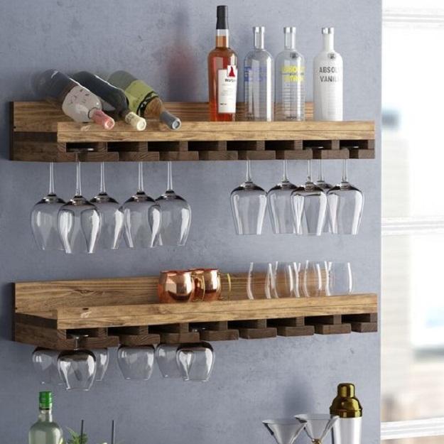 kệ đựgn rượu bằng gỗ theo phong cách oganic