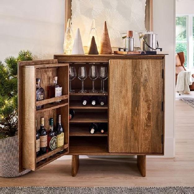 kiểu dáng kệ đựng rượu bằng gỗ